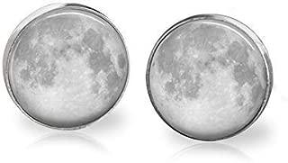 Full Moon Earrings Studs Celestial Body Stainless Steel Jewelry Sensitive Ears