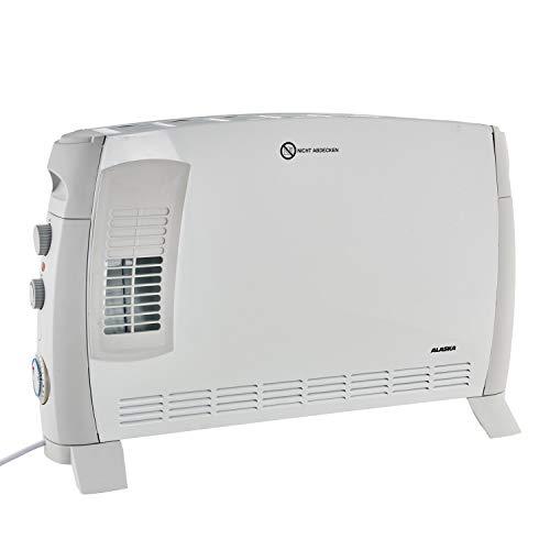 Alaska Konvektor-Heizer CVH 2000 TN | weiß/grau | 3 Heizstufen | 2000 Watt | 24-Stunden-Timer | Einstellbares Thermostat | Überhitzungsschutz | Heizung | Stabiler Tragegriff