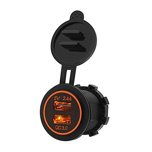 RJJX DIY QC3.0 30W 12V / 24V Carga RÁPIDA 3.0 2.4A Adaptador de Corriente Dual USB Cargador de automóviles Impermeable para el Coche RV ATV Motocicleta Marina (Color Name : Orange)