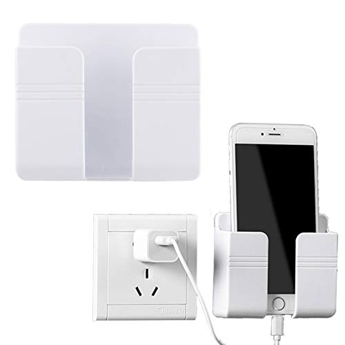 Soporte de pared para teléfono móvil, adhesivo 3M, soporte de carga para teléfono móvil, soporte de control remoto, caja de almacenamiento multiusos para oficina en casa (blanco)