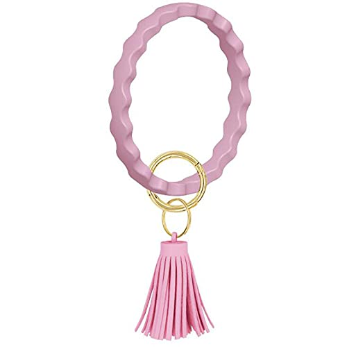 Llavero De Moda Llavero Borla Colgante Correa De Muñeca Pulsera De Color Sólido Unisex Llavero Circular-Light_Pink