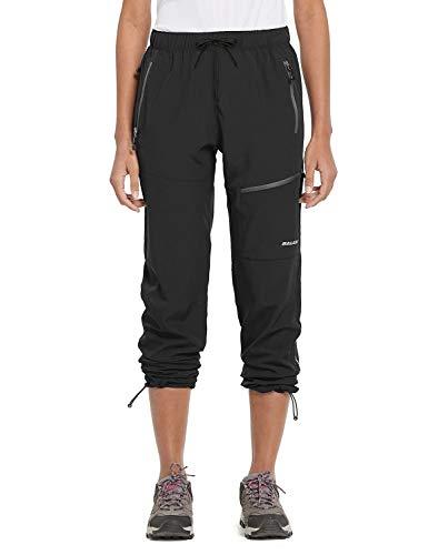 BALEAF Women's Hiking Cargo Pants Outdoor Lightweight Capris Water Resistant UPF 50 Zipper Pockets Black Size L