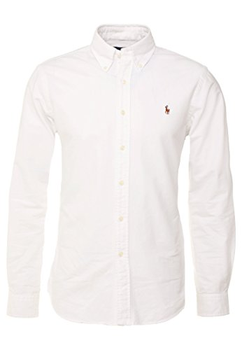 Polo Ralph Lauren, Poloshirt mit Button-Down-Kragen, aus Oxford-Baumwolle, klassische Passform, Weiß Large