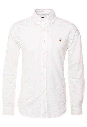 Polo Ralph Lauren, Poloshirt mit Button-Down-Kragen, aus Oxford-Baumwolle, klassische Passform, Weiß XL
