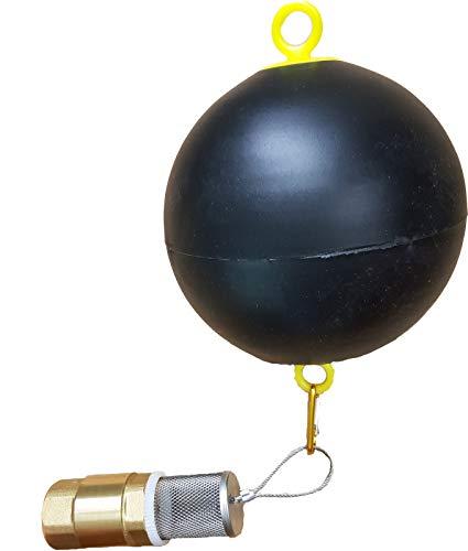 Schwimmer mit VA Saugkorb und 1 Zoll Rückschlagventil für Saugschlauch - Fussventil geeignet für Gartenpumpe, Schwengelpumpe, Jetpumpe - Qualitäts Ventil mit Messingklappe