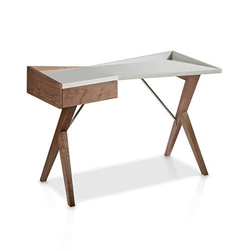 ANGEL CERDÁ | Büroschreibtisch aus Walnussholz und Deckel Holz lackiert, Perlgrau glänzend, mit seitlicher Schublade, verzögertes Schließsystem, moderner Stil