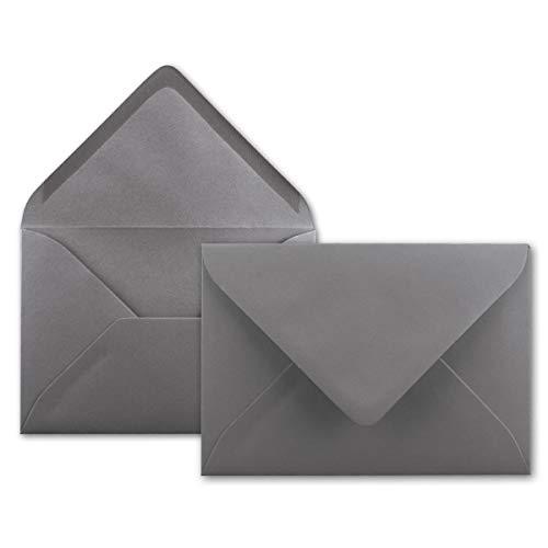 100x Brief-Umschläge in Graphit-Grau/Dunkelgrau - 80 g/m² - Kuverts in DIN B6 Format 12,5 x 17,6 cm - Nassklebung ohne Fenster