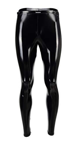 Vantissimo Herren Leder Leggings Made in Germany in Schwarz Lack-Latex-Optik Hochglanz Kunstleder enganliegend Hose Meggings Wetlook Lederhose Faux Pants Schwarz-Lack L