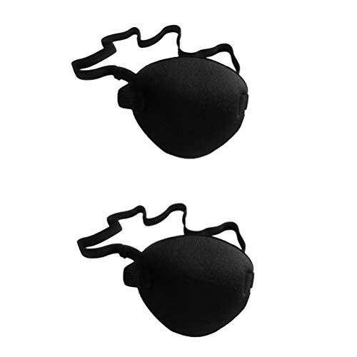 NUOBESTY 2 stücke Weiche und komfortable Pirate augenklappe einzigen Augenmaske für amblyopie faules Auge für Erwachsene Kinder (schwarz)