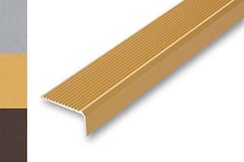 Treppenwinkel 44 x 23 x 1000 mm ungebohrt   Treppen-Kantenprofil   Treppenabschlussprofil   Stufen-Profil   Alu-Winkel-Profil   Stufenkante   (1000 mm (ungebohrt), gold)