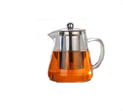 YUEMING Tetera de vidrio transparente con infusor desmontable Tetera de vidrio con infusor, apta para microondas y estufa segura, colador de té para té de hojas sueltas y té floreciente (750ml)