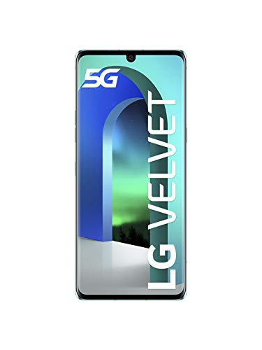 LG Velvet smartphone 5G con vetro ricurvo, Display OLED 6.8'', Sensore 48MP, Batteria 4300mAh con ricarica Wireless, IP68, 128GB/6GB, Android 10, Aurora Green [Italia]