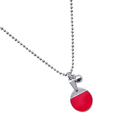Amosfun Tabelle Tennis Halskette Kette Neck Anhänger Tischtennis Bat Design Hals Schmuck Für Frauen