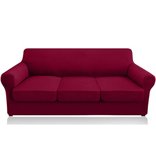 Granbest 4 Piece High Stretch Couch Covers for 3 Cushion Couch Thick Premium Sofa Slipcover Fitted Sofa Cover Furniture Protector for 3 Seat Sofas Dog Pet Proof Machine Washable (Large, Wine Red)