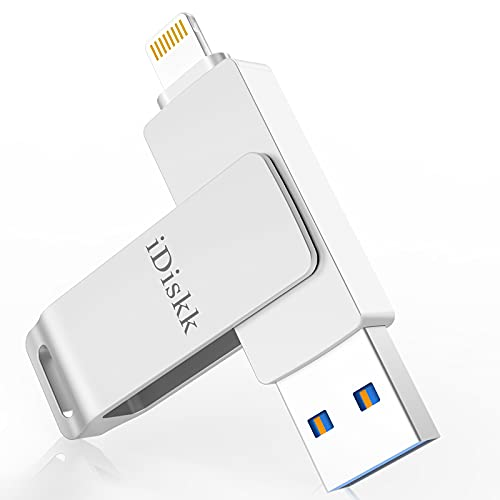 MFi Zertifizierter iDiskk 64GB USB Stick für iPhone Memory Lightning Photostick für iPad, Speichererweiterung kompatibel mit iPhone12/11 / X/XS/XR / 5/6/7/8 / iPad Pro iOS 14 Computer Mac Laptop PC