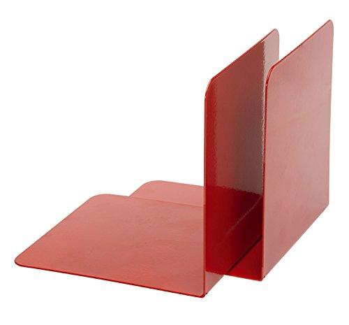 Alco 4302-12 - Reggilibri in metallo, 130 x 140 x 140 mm, 2 pezzi, colore: Rosso