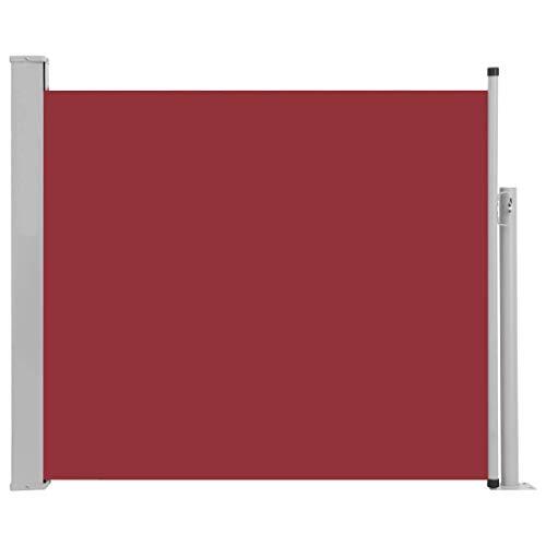 vidaXL Seitenmarkise Ausziehbar Sonnenschutz Sichtschutz Windschutz Seitenrollo Markise Seitenwandmarkise Balkon Garten Terrasse 100x300cm Rot