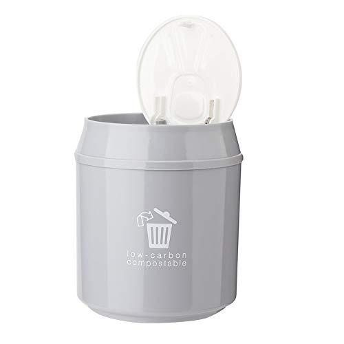 ROSEBEAR Mini Poubelle de Table, Poubelle de Bureau en Plastique Mini Poubelle Salle de Bain avec Couvercle pour Bureau Salon Cuisine (Gris)