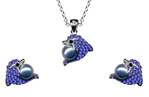 Juego de joyas de delfín azul de plata de ley 925, pendientes + cadena + colgante de perla, collar de cadena, colgante de plata, colgante, pendientes de circonita, cristales nuevos