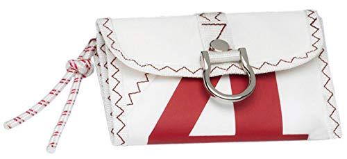 Sea Wallet Portemonnaie aus Segeltuch Weiß/Rot mit schwimmfähigem Schlüsselanhänger