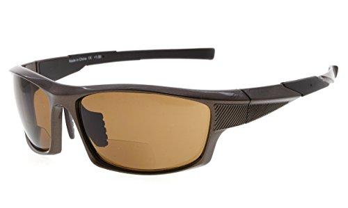 Eyekepper TR90 Sport Bifokale Sonnenbrille Baseball Laufen Angeln Fahren Golf Softball Wandern Leser (Perliges Braun, 1.75)