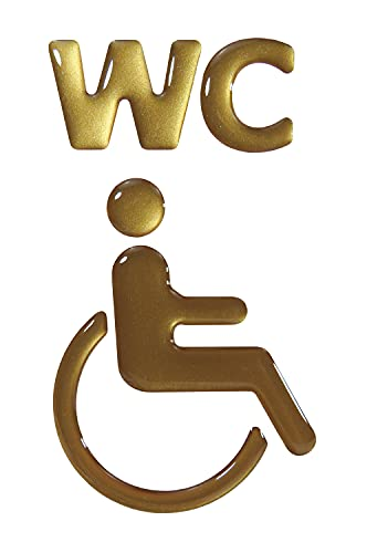 BIKE-label 900097VA Gold 3D Aufkleber Türschild WC Rollstuhl Piktogramm 57 x 97 mm