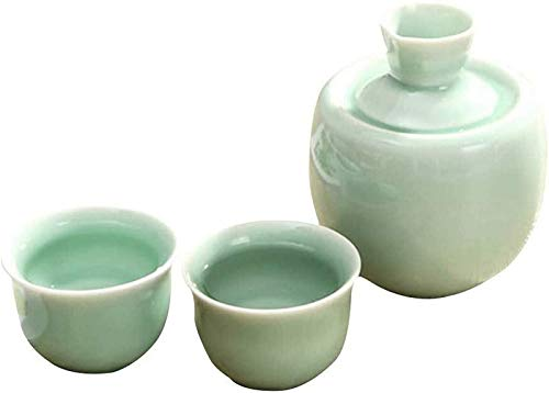 NMDD Exquisito Juego de Sake, Juego de Tazas de Sake japonés, 3 Piezas, Taza de Vino de cerámica Hecha a Mano, Botella de Sake de cerámica y 2 Tazas, Ideal para Sake japonés, glaseado