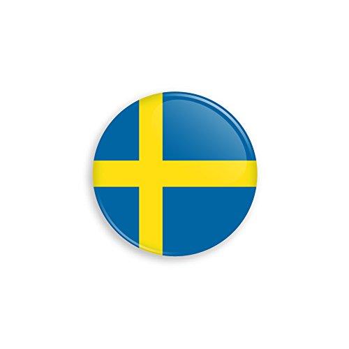 Button mit Schweden Flagge als Anstecker mit Nadel oder Magnet als Auswahl, 38 mm Durchmesser – Für Fußball WM, Themen Partys und Feiern oder als Geschenk - Nadel