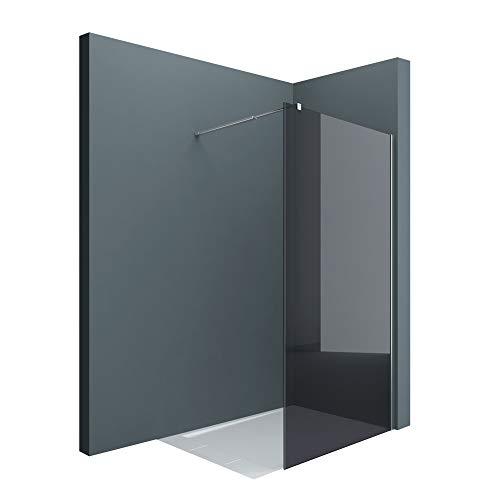 sogood Luxus Duschwand Duschabtrennung dunkelgraues Glas Bremen1VG 140x200 Walk-In Dusche mit Stabilisator aus Echtglas 8mm ESG-Sicherheitsglas inkl. Nanobeschichtung