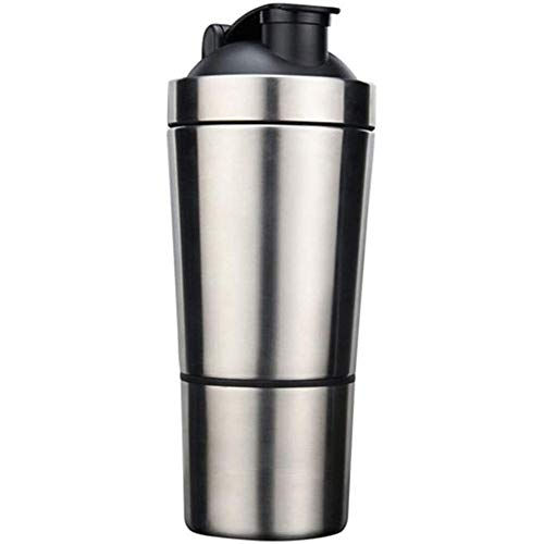 Cestbon Protein mixer, stainless steel, wall Simple Food With mixing ball, sports bottle, Shaker, kettle,Silver