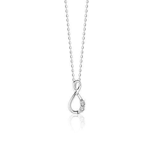 Orovi, collana da donna in oro bianco 9 carati/375, ciondolo con simbolo dell'infinito, con diamanti da 0,05 ct