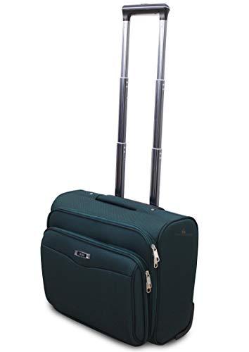 Valigia Bagaglio a Mano Pilota Business di ORMI in poliestere 46x25x35, 32 Litri 2 ruote, pilotina con tasca Pc (Verde)
