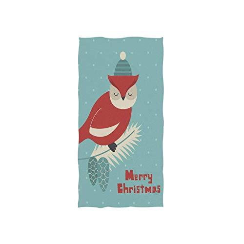 RTHGHG Feliz Navidad búho en pino rama cono con copo de nieve suave toalla de baño absorbente toallas de mano multiusos para baño, hotel, gimnasio y spa, 30 x 15 pulgadas