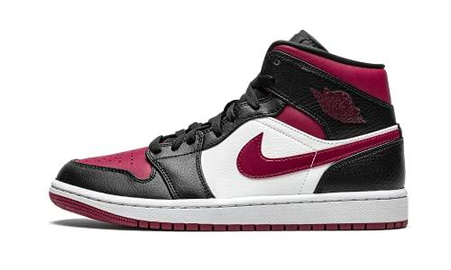 Nike Air Jordan 1 Mid, Scarpe da Basket Uomo, Black/Noble Red/White, 45 EU