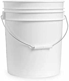 5 Gallon White Plastic Bucket Only - Durable 90 Mil All Purpose Pail - Food Grade Buckets NO LIDS Included - Contains No B...