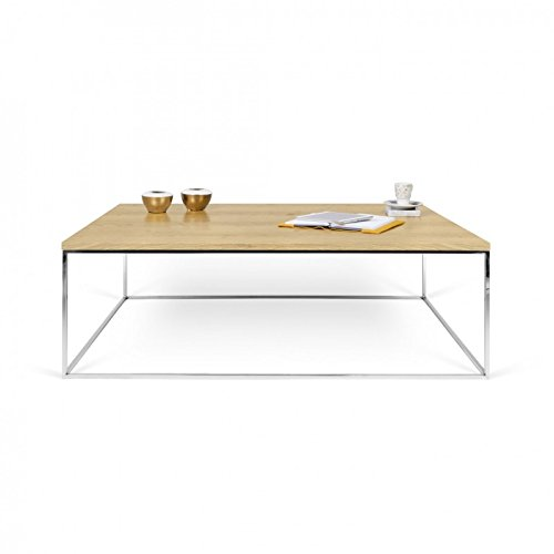 Paris Prix - Temahome - Table Basse Gleam 120cm Chêne & Métal Chromé