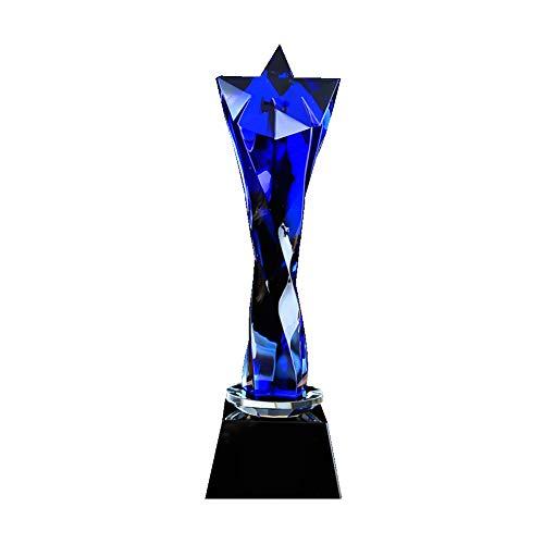 Trofeo Personalizado Letras Personalizables Trofeo Evento Deportivo Trofeo Honor Empresa Evento Competencia Elogio corporativo Personal Trofeo de Cristal Azul y Transparente 80 * 280 mm