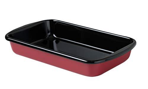 Riess, 0434-019, Auflaufform 32/19, CLASSIC - COLOR ROT, Maße 32 x 19 cm, Höhe 5,5 cm, Emaille, rot/schwarz, Bratpfanne, Bräter