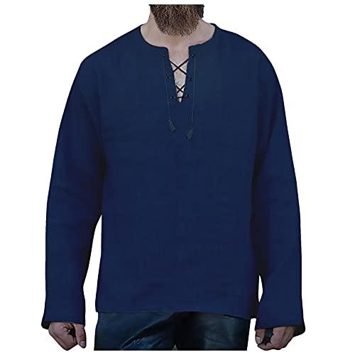 Hemden Herren Langarm Einfarbig Das Neue Beliebte lässig Mode Baumwolle und Leinen einfarbig Rundhalsausschnitt Lange Ärmel Hemden mit Kordelzug und Saum Knöpfe Hemd