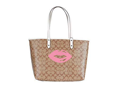 COACH Signature Lips Motif Reversible City Tote Khaki Multi One Size