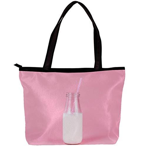 Xingruyun Bolsos Mujer Mochilas-Vintage Bolsos Hombro Grandes Multifuncional Tela de Sarga Bolsos Bandolera botella de leche rosa 30x10.5x39cm