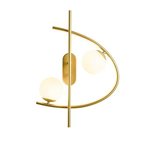 YXLMAONY Lámpara de pared de iluminación de doble cabezal interior interior, lámpara de lectura de cabecera, cuerpo de lámpara de hierro forjado y chasis, lámpara de cristal de alta transparencia, ade