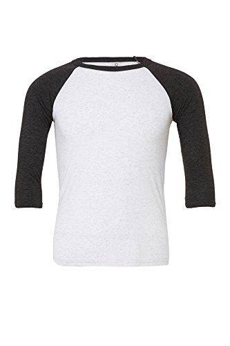 Canvas Unisex 3/4 Ärmel Baseball T-Shirt Gr. XXL, Weiß Fleck/Kohle Schwarz Triblend
