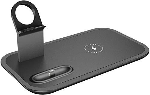 Gymqian Pad de Carga Inalámbrica 3 en 1 Soporte de Cargador Inalámbrico Rápido Qi Compatible con Iwatch Series, Airpods, Iphone 12/11 Pro Max/Xs Max/Xs/Xr/X / 8, Negro Compa