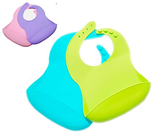 2 Pack Silicone Baby Bib, BPA Free, Green and Blue, Easy Clean up