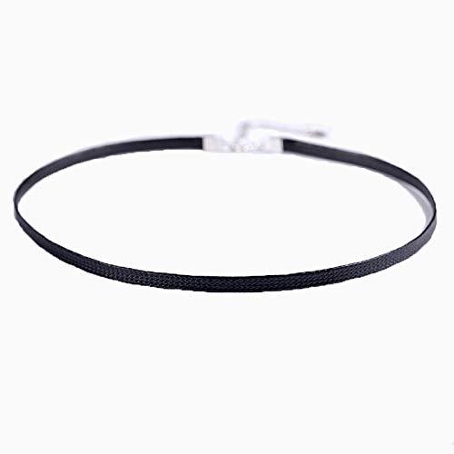 Kercisbeauty zwart dun leer Choker 90's ketting voor vrouwen en meisjes in Halloween Party Plain Choker