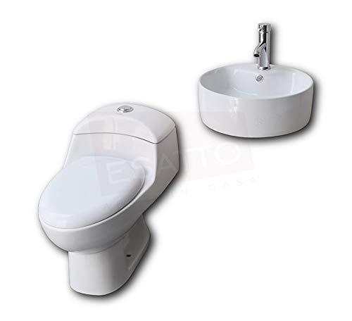 Esatto® Paquete de sanitario inodoro y lavabo cerámico llave gratis WC-002 Rond