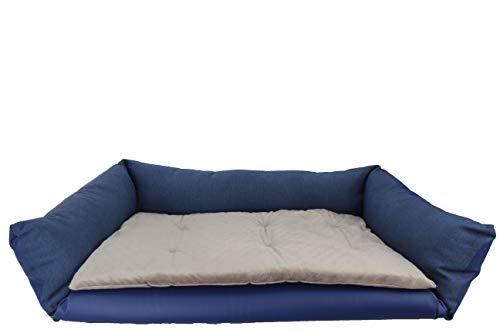 Cama Multifunción para Perros 90x60 cm, Cama para Mascotas Polipiel y Terciopelo, Cuna para Sofá Extra Suave y cálida. (Azul)