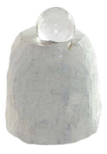 Budawi® - Calcit-Quellstein Set mit Kugel für Kugelbrunnen-Zimmerbrunnen, Edelsteinbrunnen, Quellsteinbrunnen, Brunnenschale