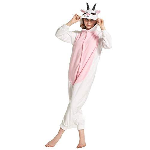 Wodechenshan Onesies para Dormir,Pijamas para Adultos Unisex Animal White Goat Onesies Novedad Ropa De Dormir, Halloween Navidad Homewear Onepiece Cosplay Disfraz Soft Loungewear, XL
